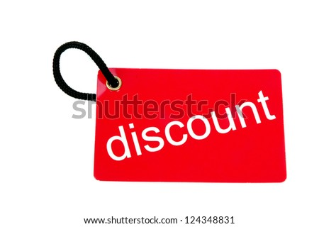 red paper tag labeled with discount words isolated on white background - stock photo