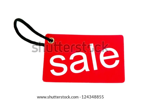red paper tag labeled with sale words isolated on white background - stock photo