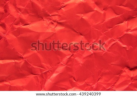 Red paper texture, Crushed red paper. - stock photo