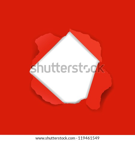 Red Paper Torn - stock photo