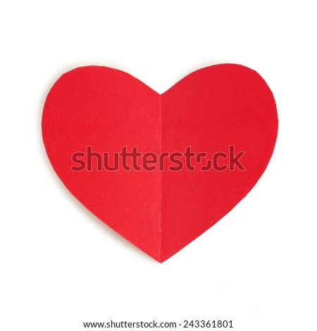 Red paper Valentines Day heart against a white background - stock photo