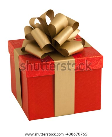 Red paper wrap gold bow gift box present christmas birthday isolated