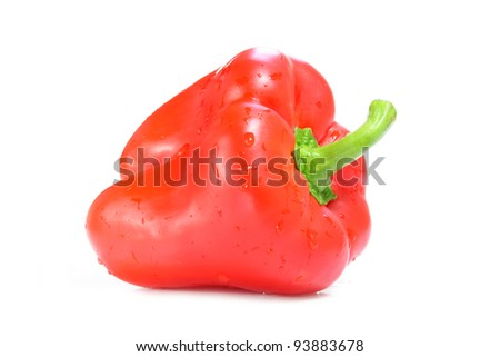 Red Paprika. Pepper isolated on white background. - stock photo