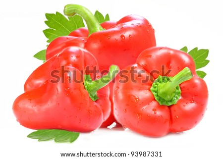 Red Paprika. Peppers isolated on white background. - stock photo