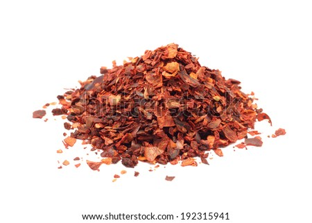red paprika pulverized on a white background