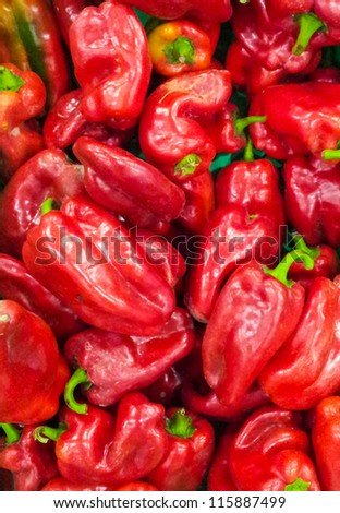 Red paprikas background - stock photo