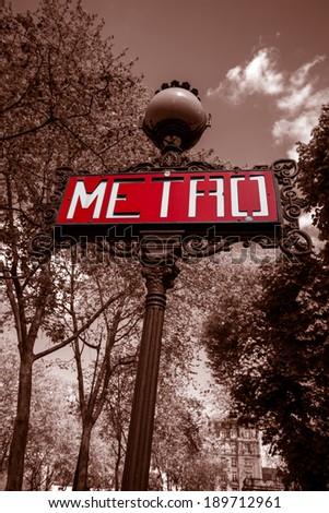 Red Paris metro subway in France