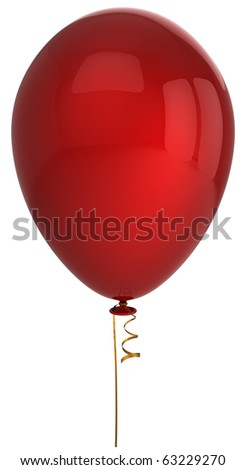 Red party balloon birthday decoration classic blank single. Holiday celebration retirement graduation occasion life events. Detailed 3d render. Isolated on white background - stock photo