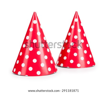 red party hat isilated on a white background. - stock photo