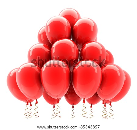 Red party helium balloons. 3D render (Hi-Res). Isolated on white background - stock photo