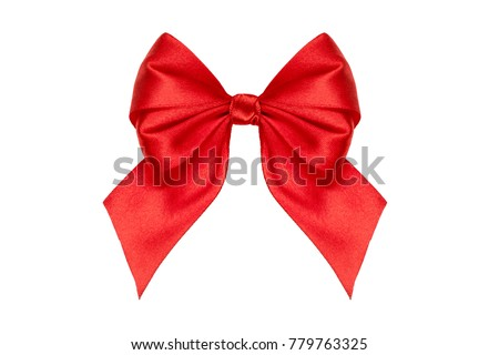 Red party satin bow and ribbon isolated on white