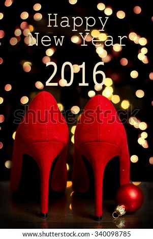 red party shoes and text Happy New Year - stock photo