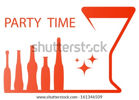 red party symbol with wineglass and alcohol bottle silhouette  - stock photo