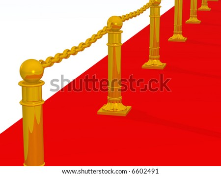 Red path. A fragment of a podium with gold columns