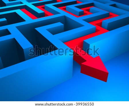 Red path across blue labyrinth - stock photo
