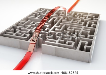 Red path going over complicated concrete maze. 3D Rendering - stock photo