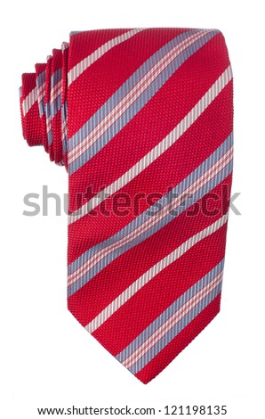 Red pattern tie isolated on white background.