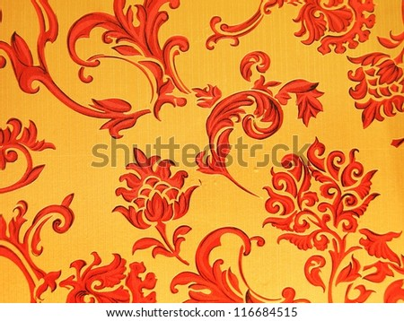 Red pattern wallpaper texture. - stock photo