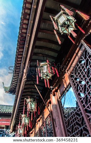 Red pavillion in the Yu Yuan Garden, Shanghai. The garden is a classical Chinese garden, built during the reign of Ming Emperor Jiajing (1559). - stock photo