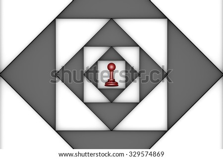 Red pawn in the center of an abstract background. 3d image. - stock photo