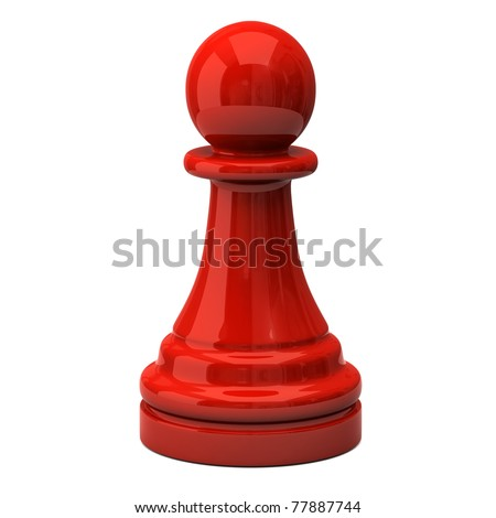 Red pawn isolated on white background - stock photo