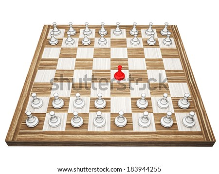 red pawn on a chess board isolated on white background - stock photo