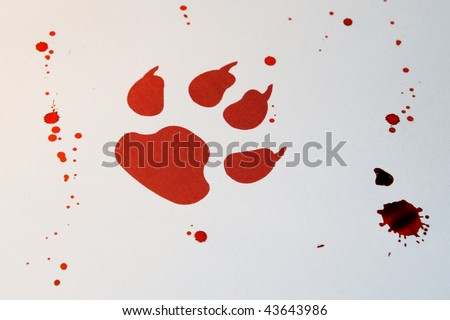 Red pawn sign and fake blood - stock photo