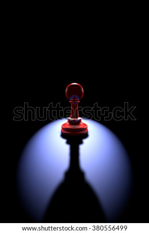 Red pawn (silhouette) on a dark background art. Backlight and deep shadow. - stock photo