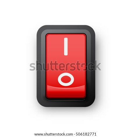 Red pc electric switch, on position, 3d realistic object, 3d illustration of electrical equipment, raster