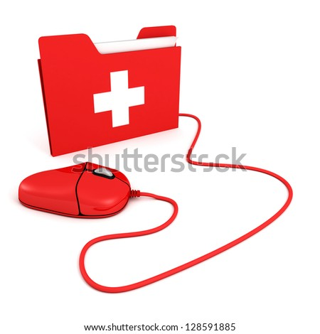 red PC mouse with first aid help folder - stock photo