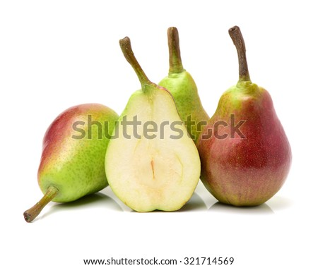 Red pear isolated on white background  - stock photo
