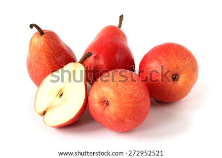 Red pears isolated - stock photo