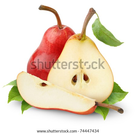 Red pears isolated on white - stock photo