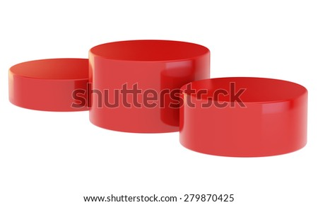 red pedestal with three curbstones for winners - stock photo