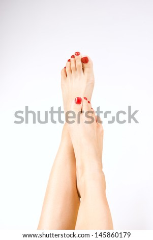 red pedicure  - stock photo