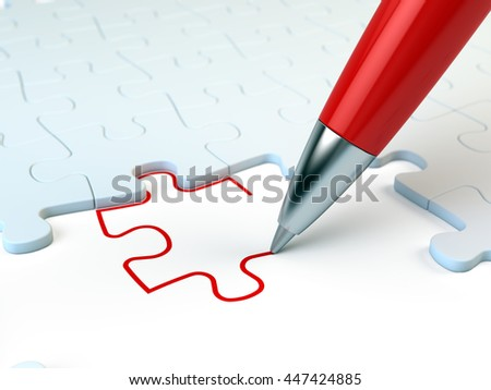 Red pen drawing a puzzle piece. Solution concept. 3d illustration - stock photo