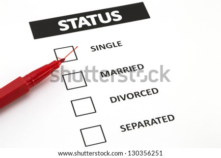 Red pen on form of status