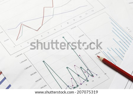 Red Pencil And Graph - stock photo