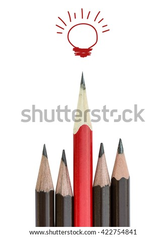 red pencil and light bulb on white, idea concept and  leadership - stock photo