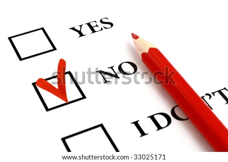 Red pencil and selected tick box with answer No. - stock photo