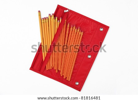 Red Pencil Bag / Case filled with New No. 2 Pencils isolated on white background - stock photo