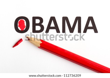 Red pencil (broken point) for voting the next president (election 2012), Obama - stock photo