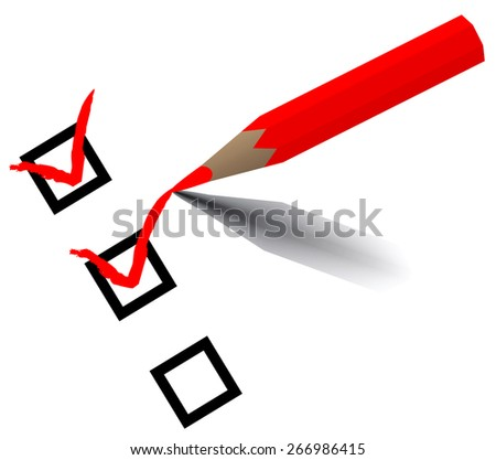 Red pencil checking raster version - stock photo