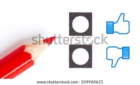 Red pencil choosing the right mood, like or unlike/dislike - stock photo