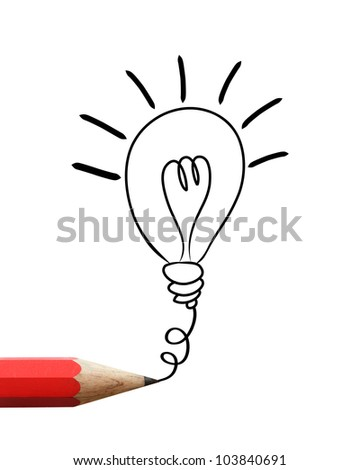 Red pencil drawing light bulb isolated on white background.