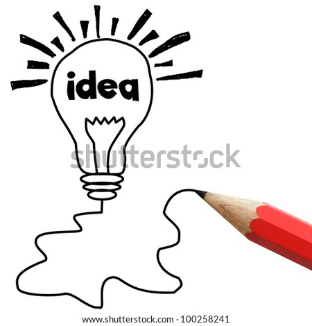 Red pencil drawing light bulb isolated on white, idea concept. - stock photo