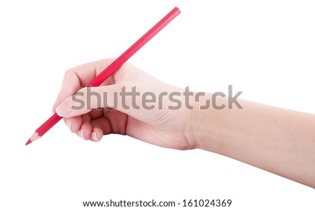 Red pencil in women hand isolated on white background, holds, writes, draws