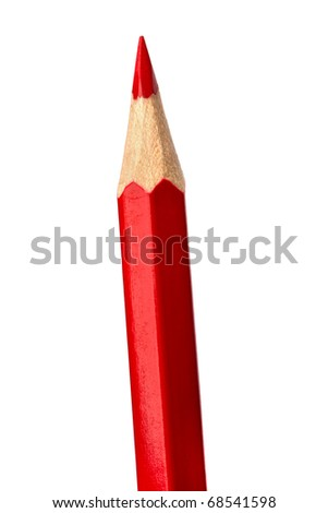 Red pencil isolated on white  background close up - stock photo