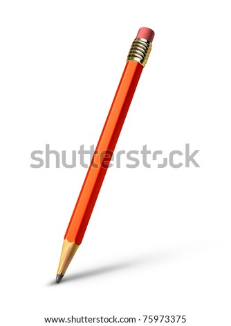 Red pencil isolated on white background representing the concept of education and the freedom of artistic writing and drawing. - stock photo
