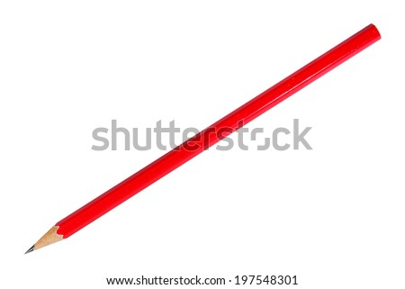 Red pencil on white background - stock photo